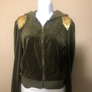 Juicy Couture size L Olive Green velour hoodie